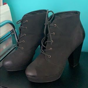 Black Heeled Lace Up Booties